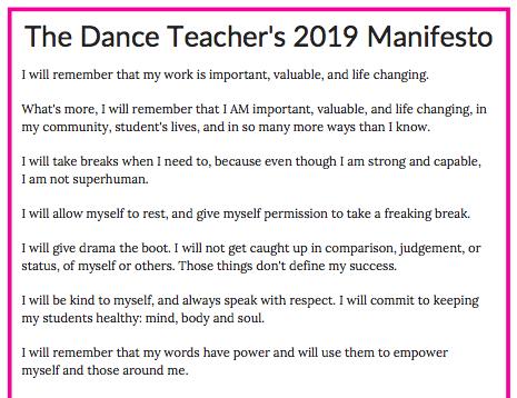 Dance Teacher's 2019 Manifesto