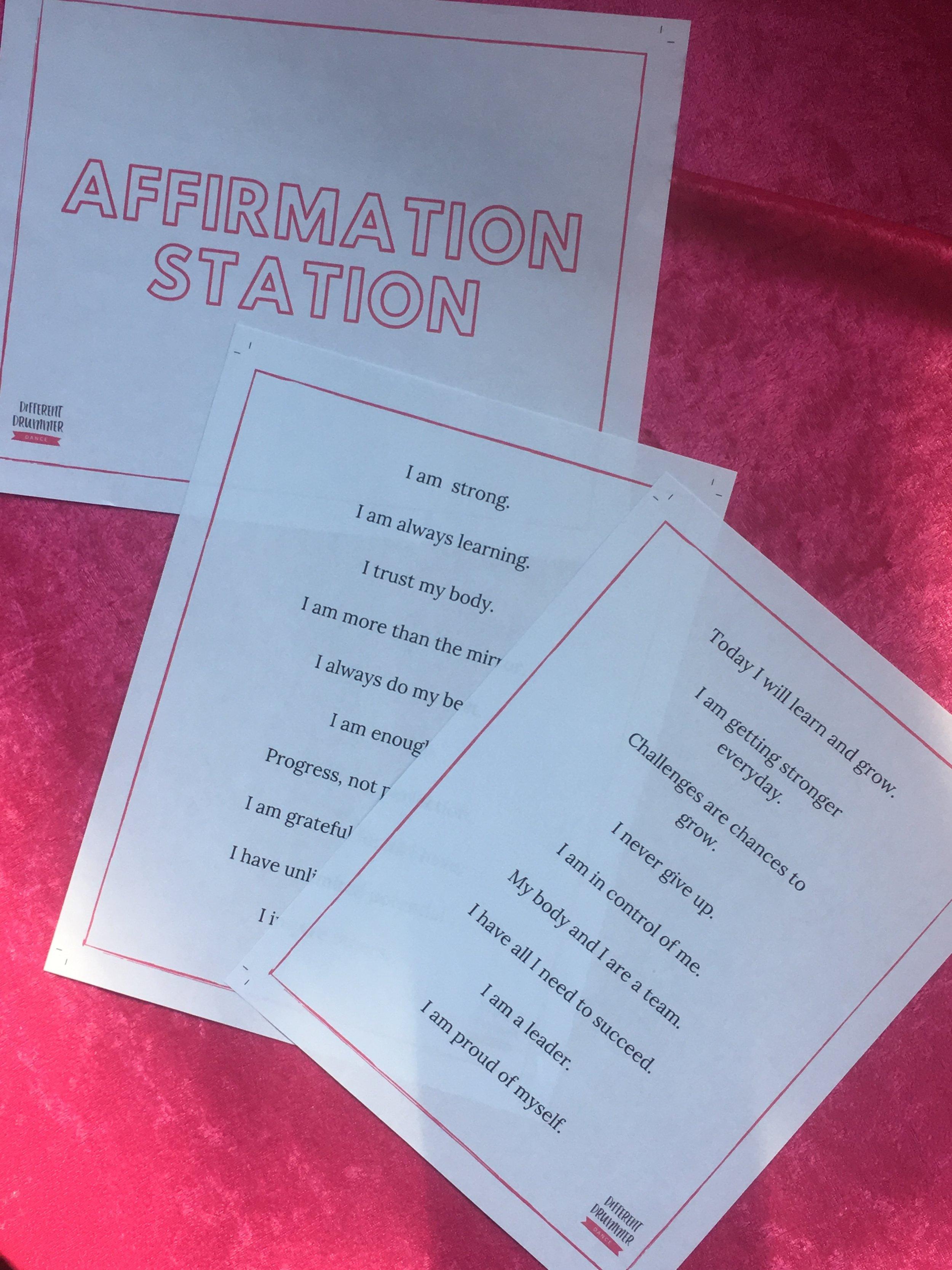 Affirmations for dancers