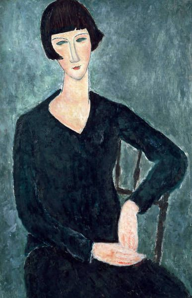 Seated Woman in Light Blue Dress - Modigliani