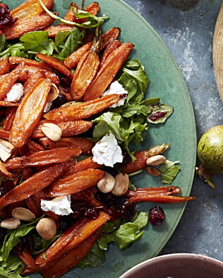 Ina Garten's Maple-Roasted Carrot Salad via Oprah. From the cookbook Cooking for Jeffrey.