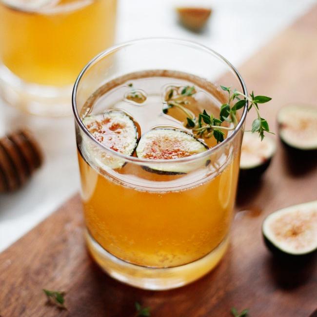Sparkling Fig & Honey Cocktail via Hello Glow