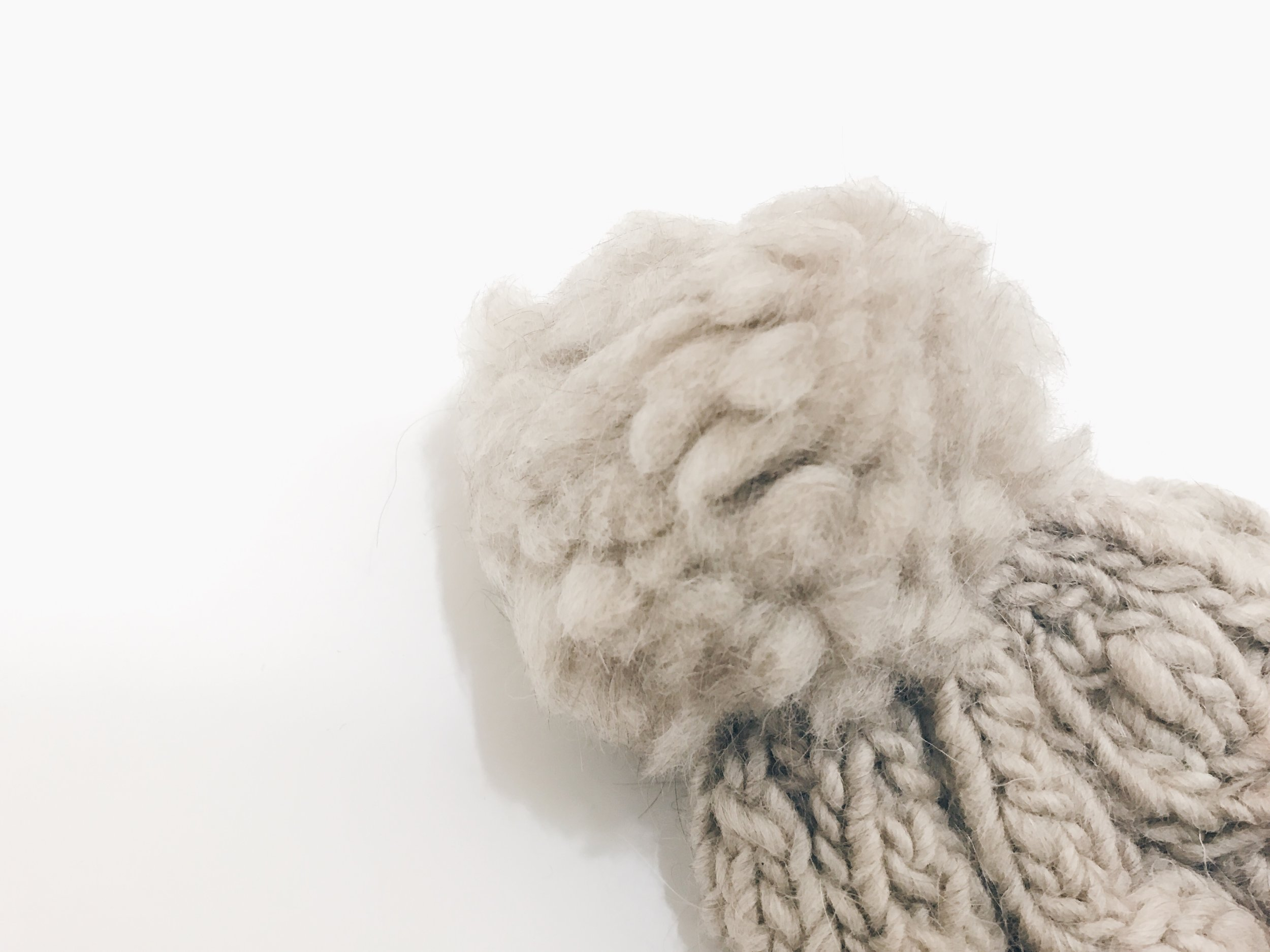 DROP Wool Pompon Hat - Oatmeal