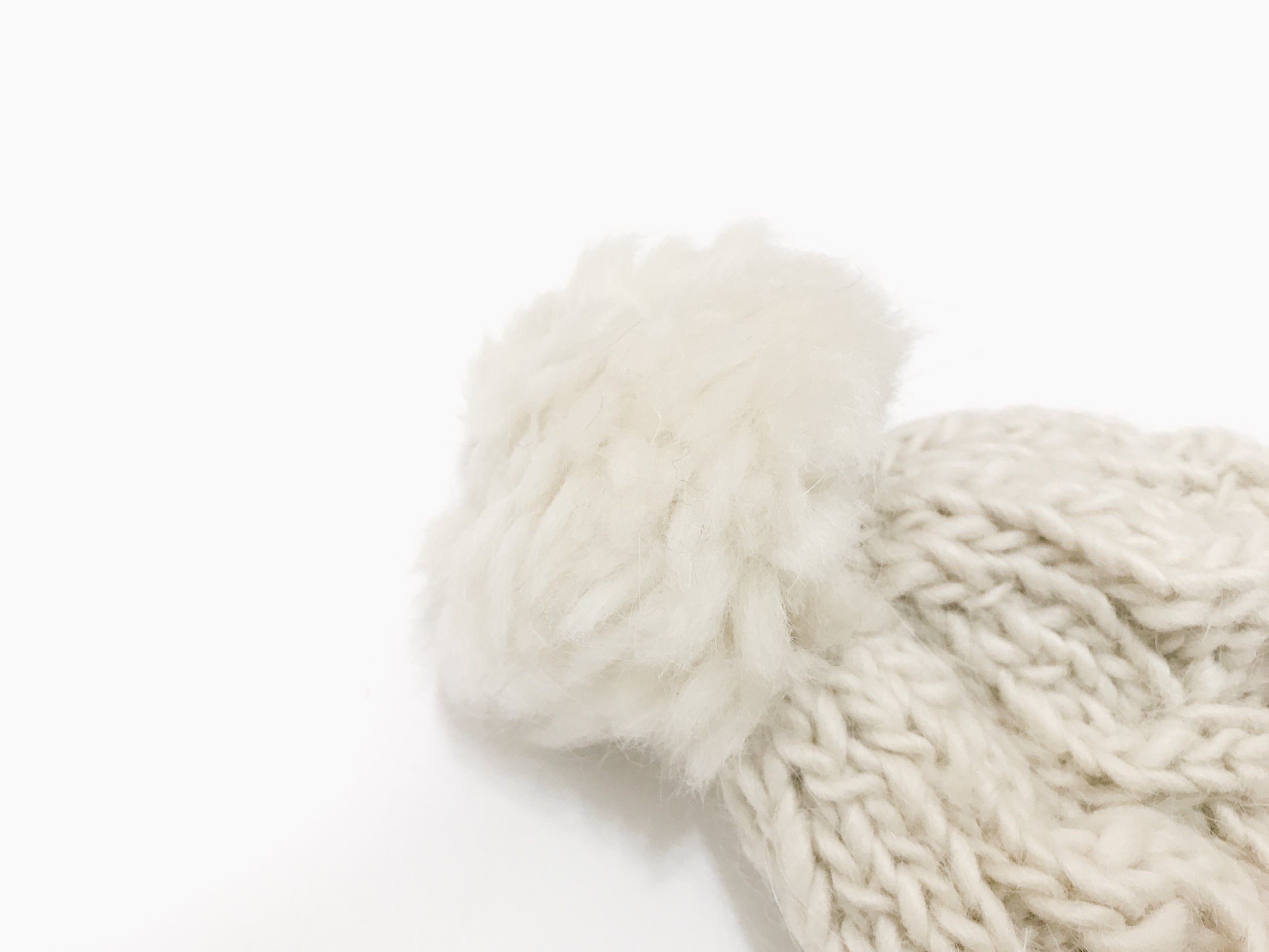 Wool Pompon Hat - Natural