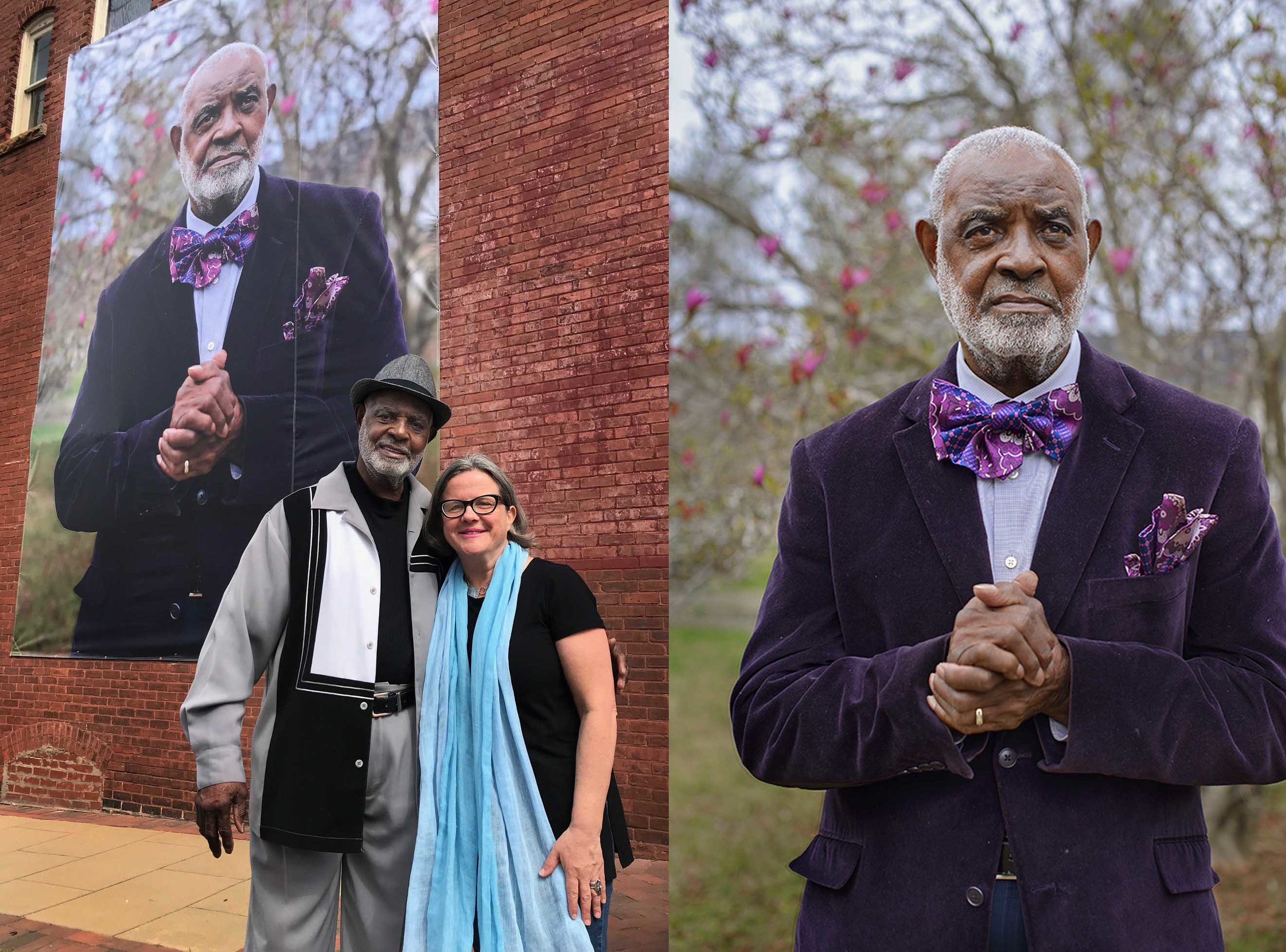 Pic 1: Mary Beth meehan and Rufus Smith, jr. in newnan - Pic 2: Meehan's Portrait of Rufus Smith, jr.