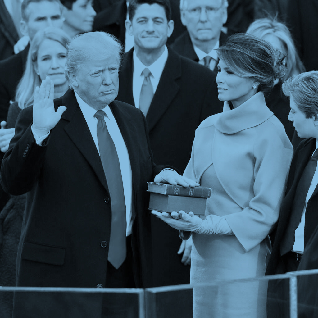 President  Donald Trump being sworn in on 20 January 2017 at the U.S. Capitol building in Washington, D.C.
