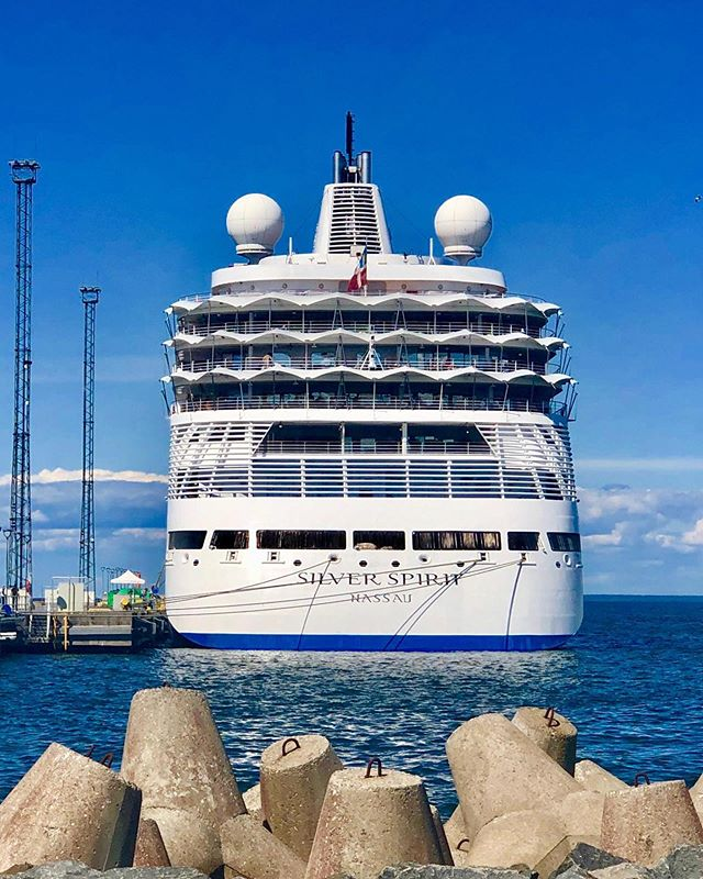 On a bright and sunny day the Silver Spirit becomes a part of the vista.  @silverseacruises #silversea #silverseacruises #silverspirit
