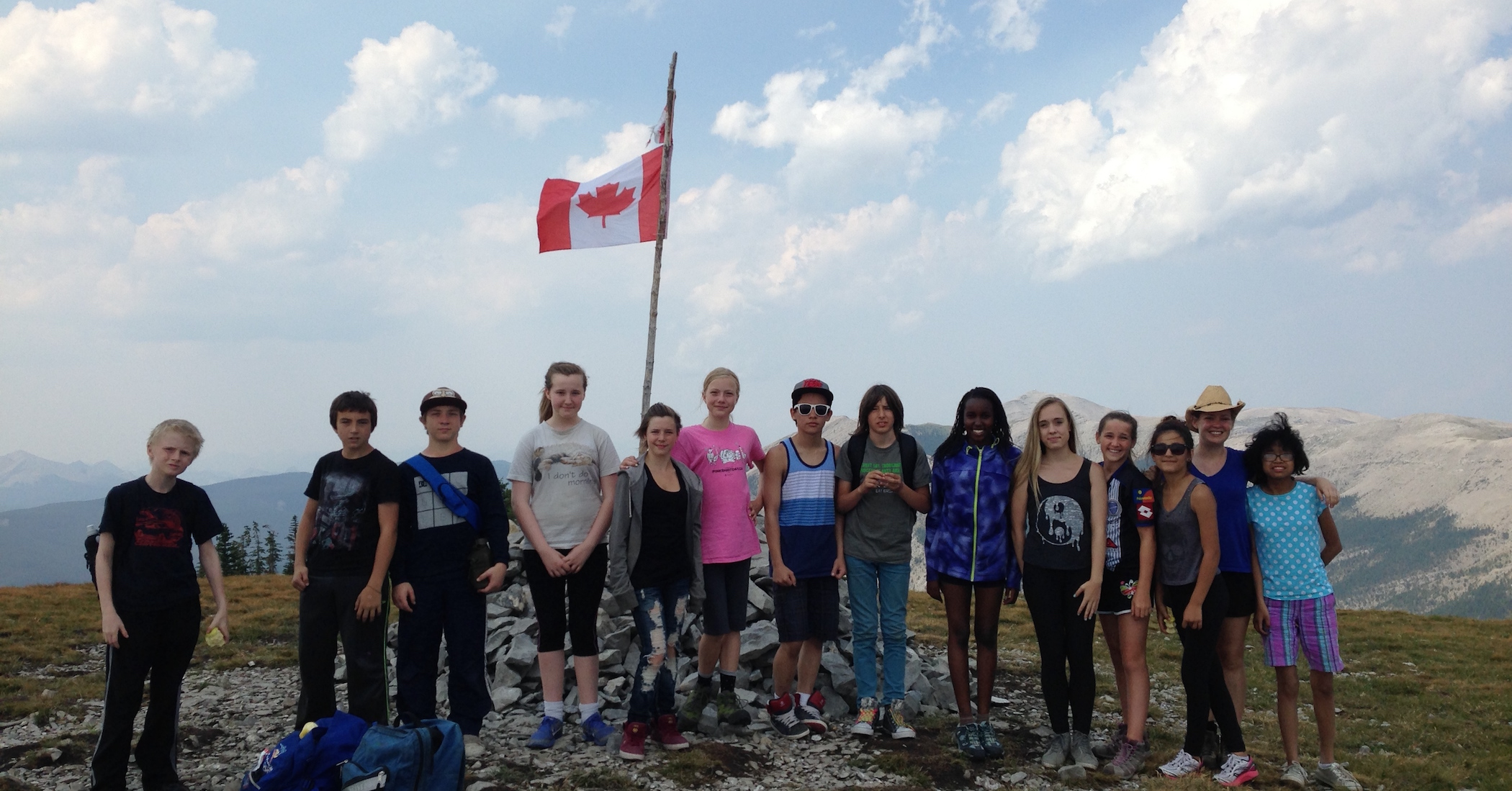 outdoor skills participants at the top of Prairie Mountain