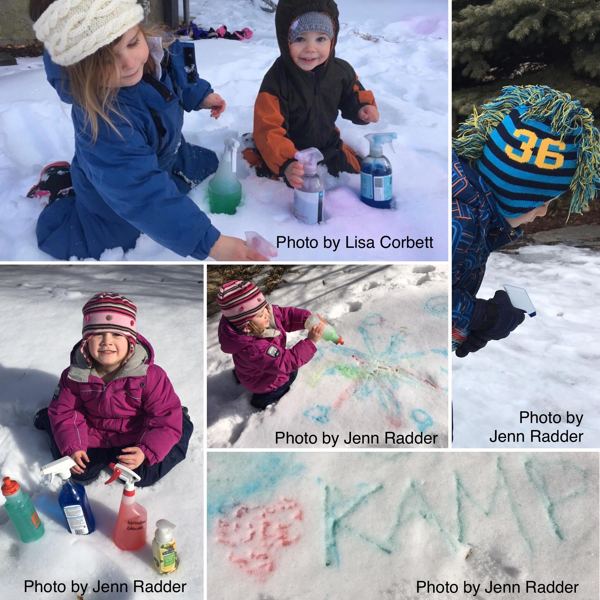 Kids having fun snow painting