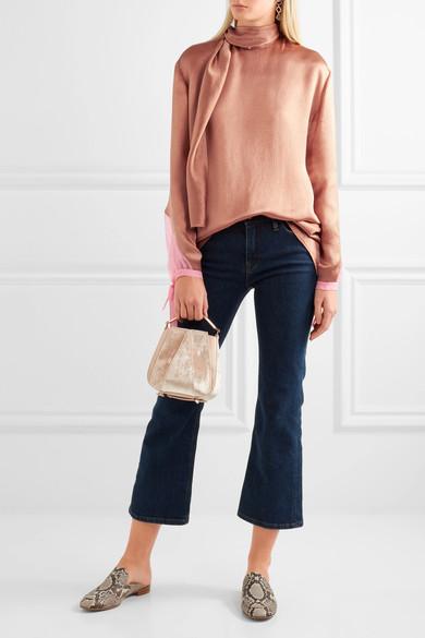 VALENTINO Silk chiffon-trimmed hammered-satin blouse.jpg