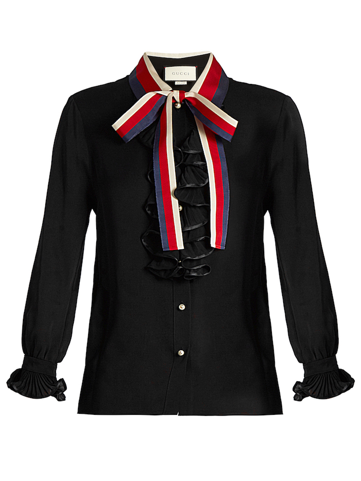 GUCCI  Frill-trimmed silk-georgette blouse.jpg