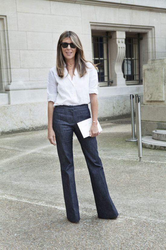 Style Queen Nina Garcia takes her denim into trousers and nails this classic look. The straight leg balances and slims the hip. Note - The hem is exactly touching the ground, precision at its finest!