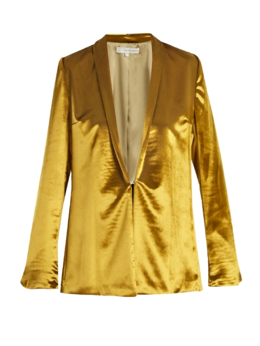 I totally envision channeling Mick Jagger when I look at this sumptuous Galvan London Blazer. Imagine with black low slung trousers and noting else. SOOO sexy. But hey, not all of us can be so bold, why not just slip it on over a simple silk camisole and skinny trousers with sharp heels or ankle boots. If your feeling really brazen pick up a pair of the matching trousers, you'll look like a goddess.