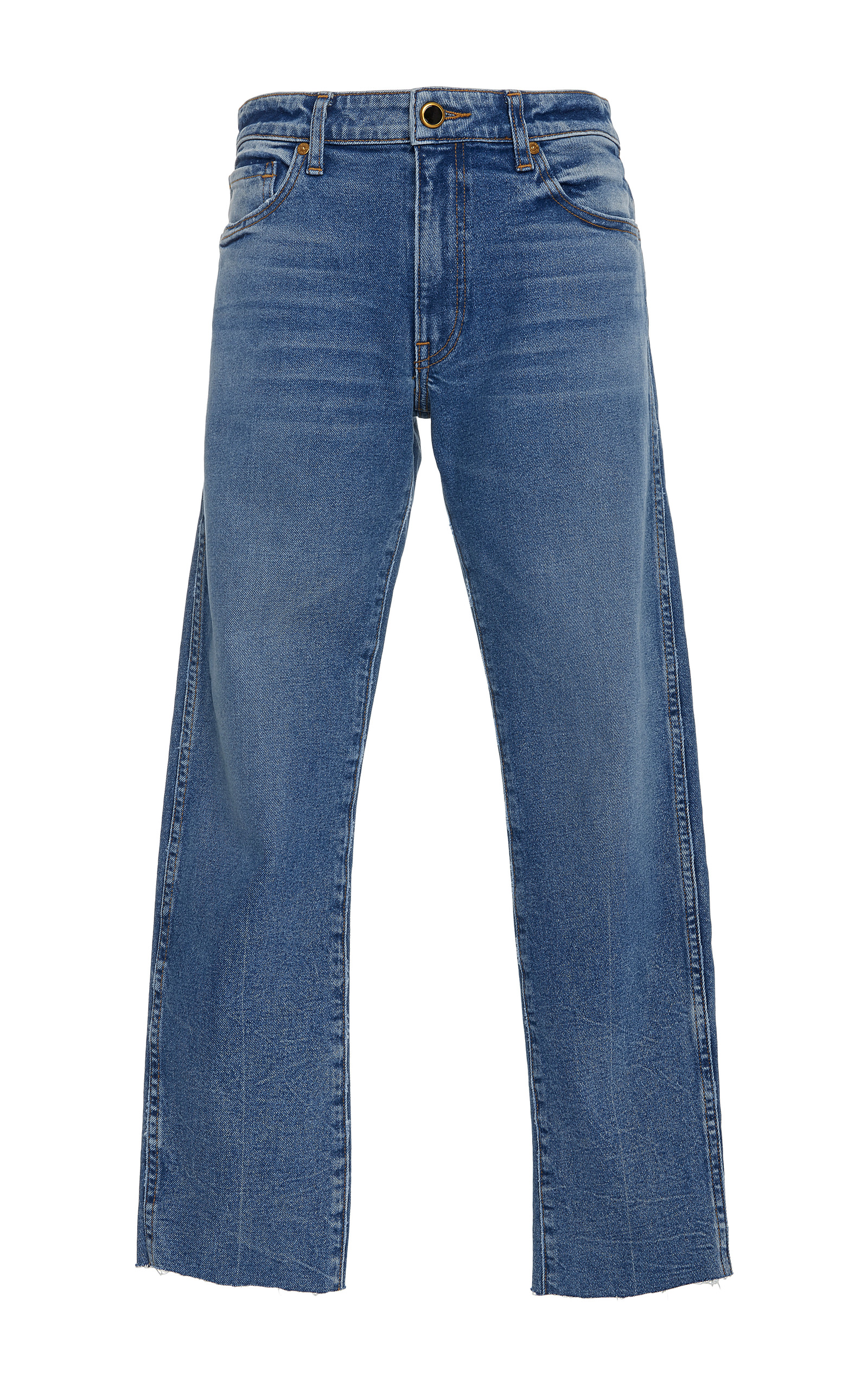 Khaite is making the perfect casual jeans this season. Fitted on the waist and slightly loose through the thighs (a flattering effect) and cropped at the exactly right spot on your ankles to make your legs look extra long.
