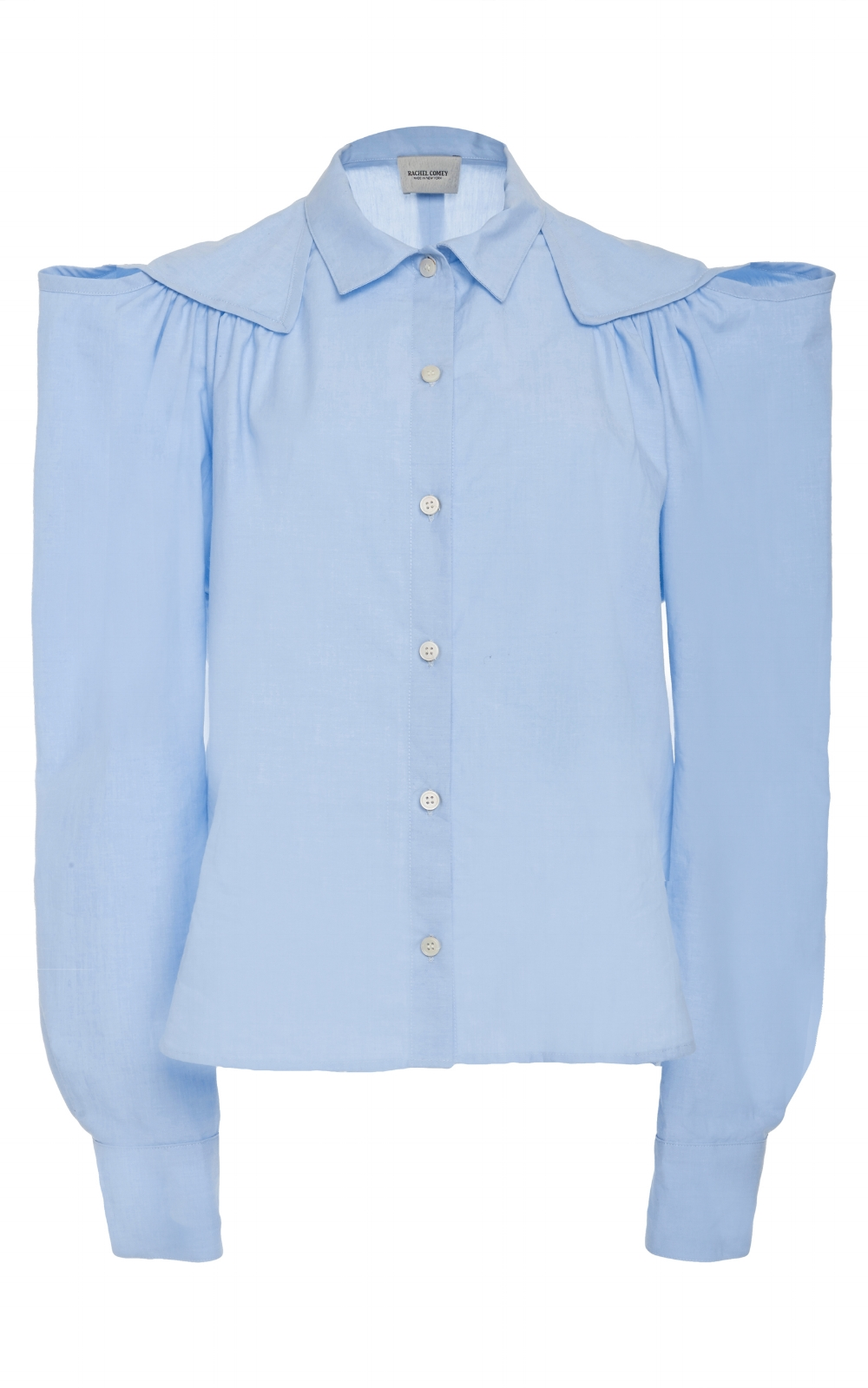 I love a blue collared shirt and this exaggerated one from Rachel Comey is a fantastic option to pair with all of these trousers. With just enough interest,femininity and quirk.