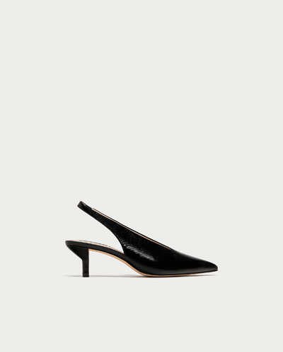 These slingback pumps are a great day to evening shoe with just the right amount of fashion in the cut and heel to make this look modern rather than a dated 80s revival.
