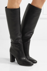 My Favourite Knee Boots Because - 1. They are slightly loose on the calf, therefore perfect under this season's long dresses (as seen),also with short dresses (thick tights or bare legs) and with trousers tucked in.2. Classic black calf leather works with any colour palette you build in your wardrobe3. The thick stacked heel is stable and comfortable4. I love the way the front panel wraps up the ankle creating visual interest to a clean design