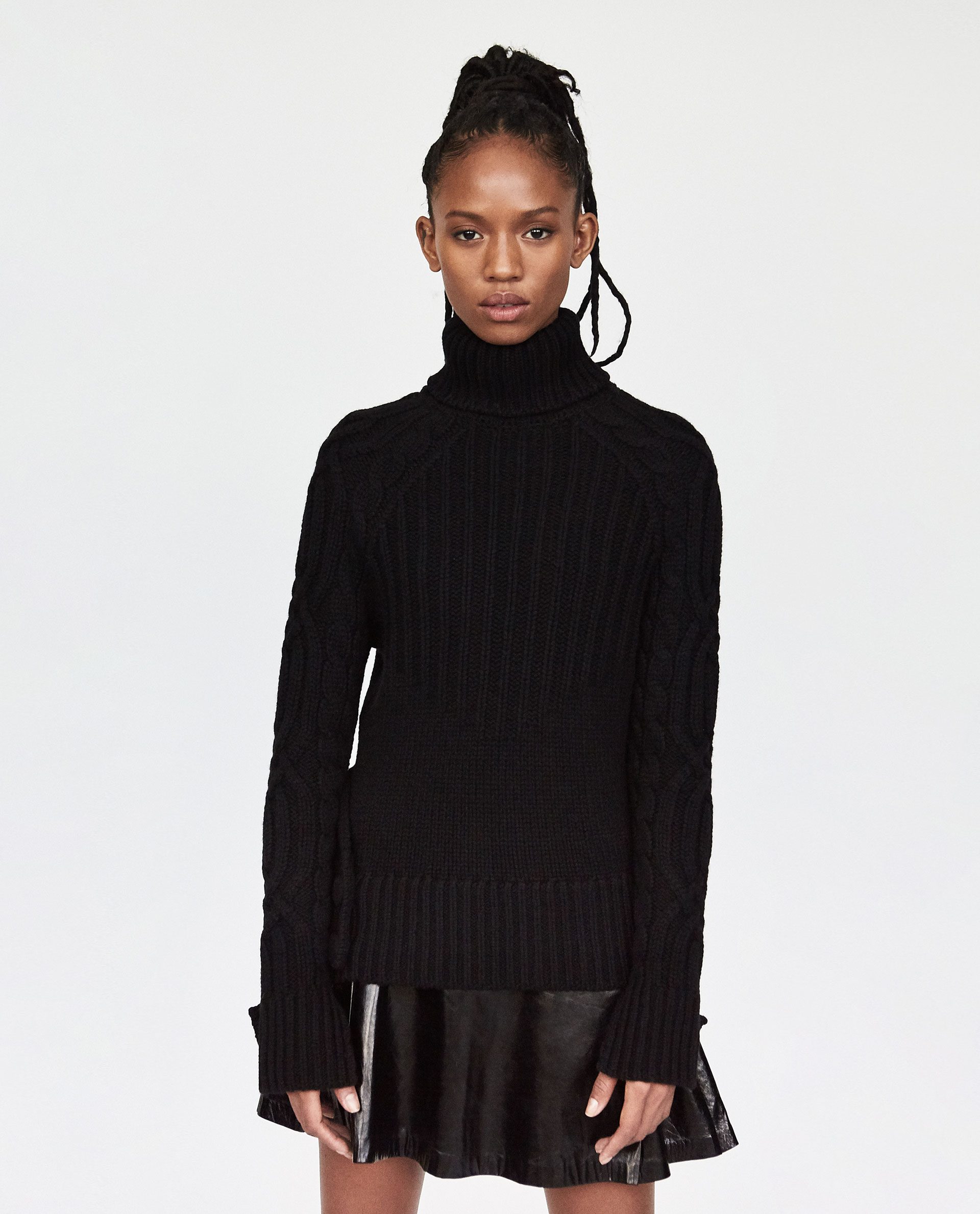 Zara, Combined Cashmere Cable-knit sweater - £159