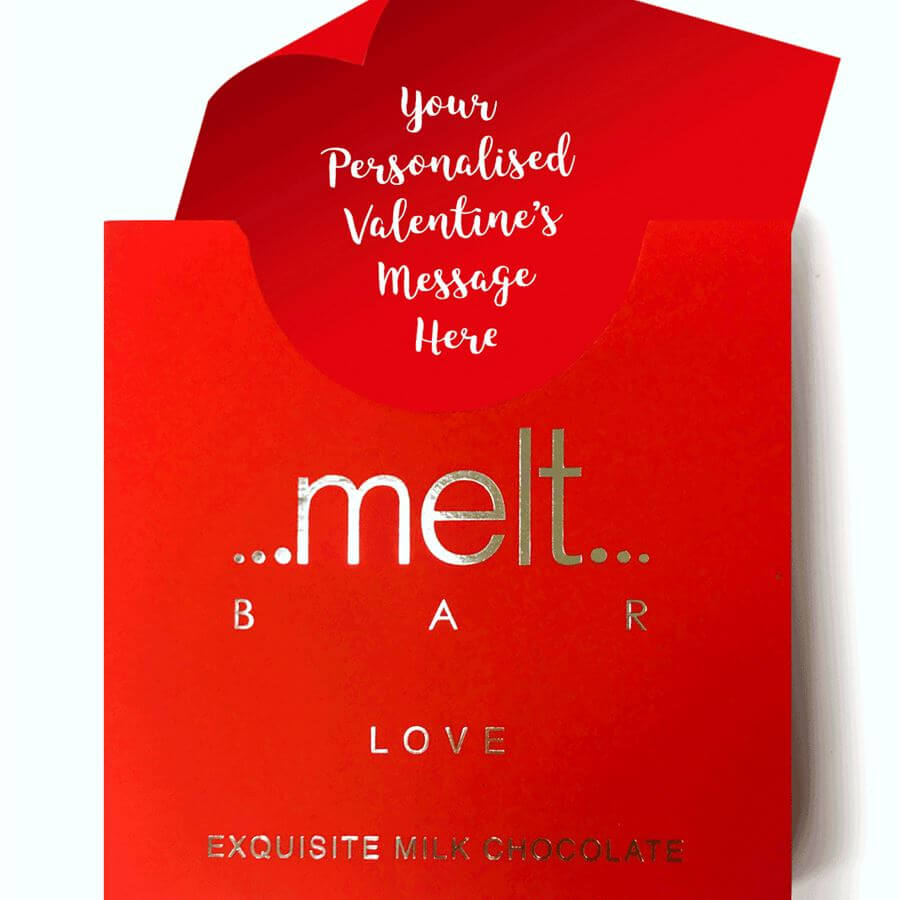 Melt Love Bar £7.99  - I don't know about your guy, but mine is a chocolate monster! I would get two treats, this personalised one, and then a box to share.