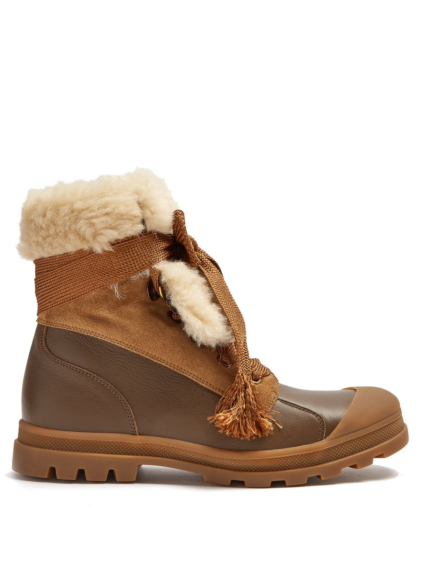 chloe parker boots - Cream shearling lining set against sepia-brown suede and ribbon ties, makes these boots romantic yet comfortable, practical and easy to wear. Equally cool with trousers, dresses and skirt. The perfect winter boot with style and ease.