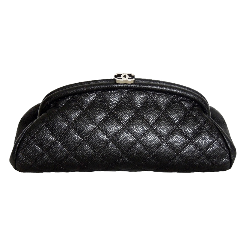 Chanel black quilted kiss lock caviar clutch