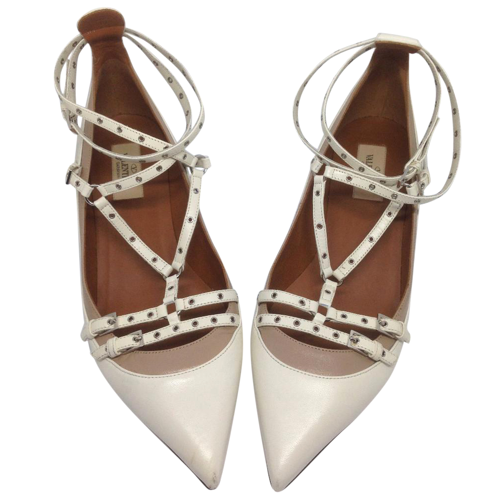 Valentino Love Latch Smooth White Leather Heels