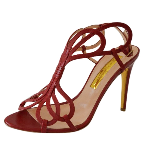 Rupert Sanderson Figaro Bordeaux Red Calf Leather Sandals