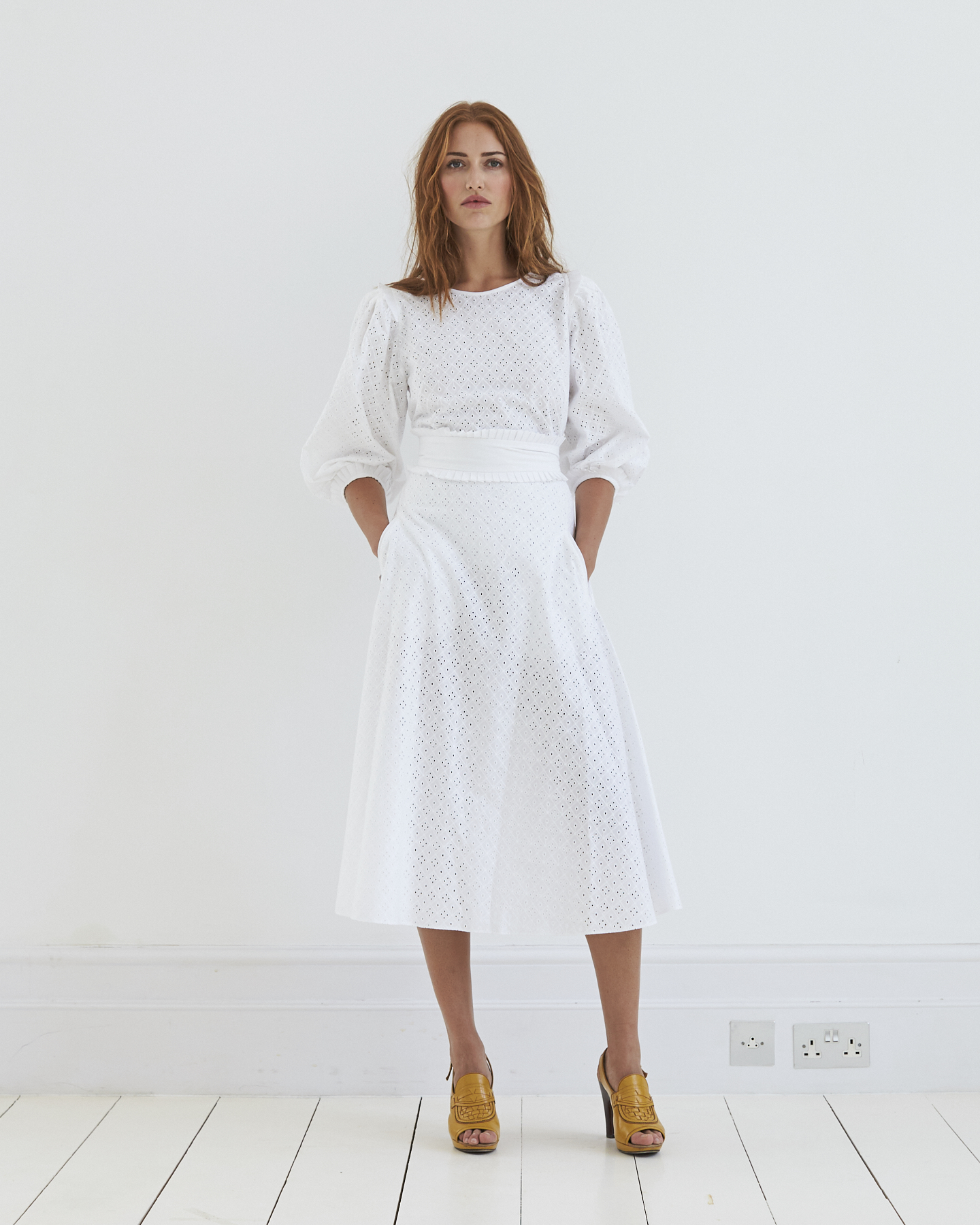 Birdie Broderie Anglaise Skirt, Top & Belt. Unlined for subtle sex appeal and incredibly versatile.
