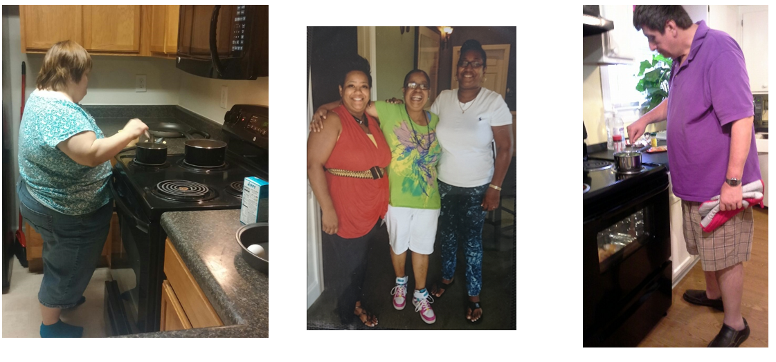 Charles Lea Center clients cooking in their homes and hanging out with friends.