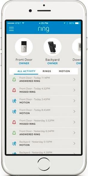 The image shows a smartphone with a history of alerts received on the Ring Video Doorbell.