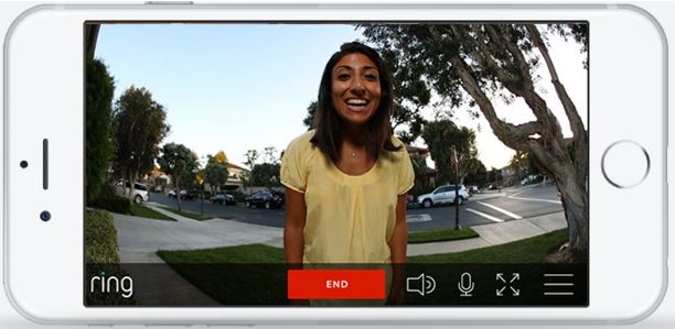 Image: A smartphone showing the Ring Video Doorbell app, with a person on the other end of a video call.