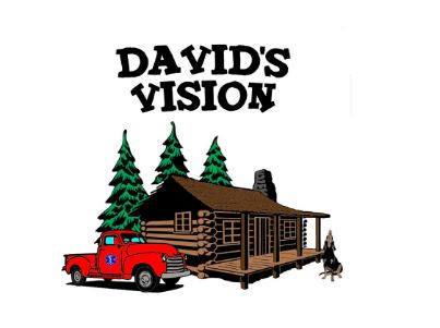 The logo of David's Vision, which is an image of a log cabin beside some pine trees, with a red truck and a hound dog.