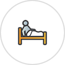 Sleep Patterns Icon showing a person getting out of bed