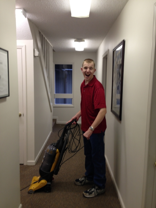 Bryan is very careful to make sure each area of the office gets vacuumed, including the hallways.