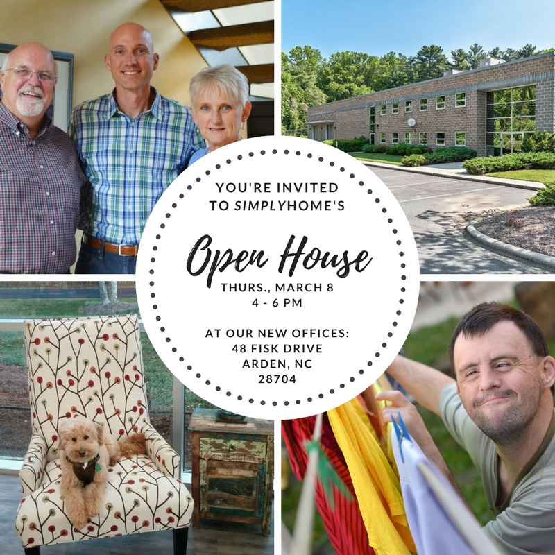 Open House Invite graphic with pictures of staff, the new building, Beau the dog, and a man with I/DD pinning clothes on a line.jpg