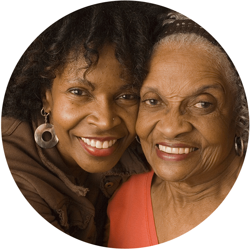 Circular Photo of smiling mother and daughter