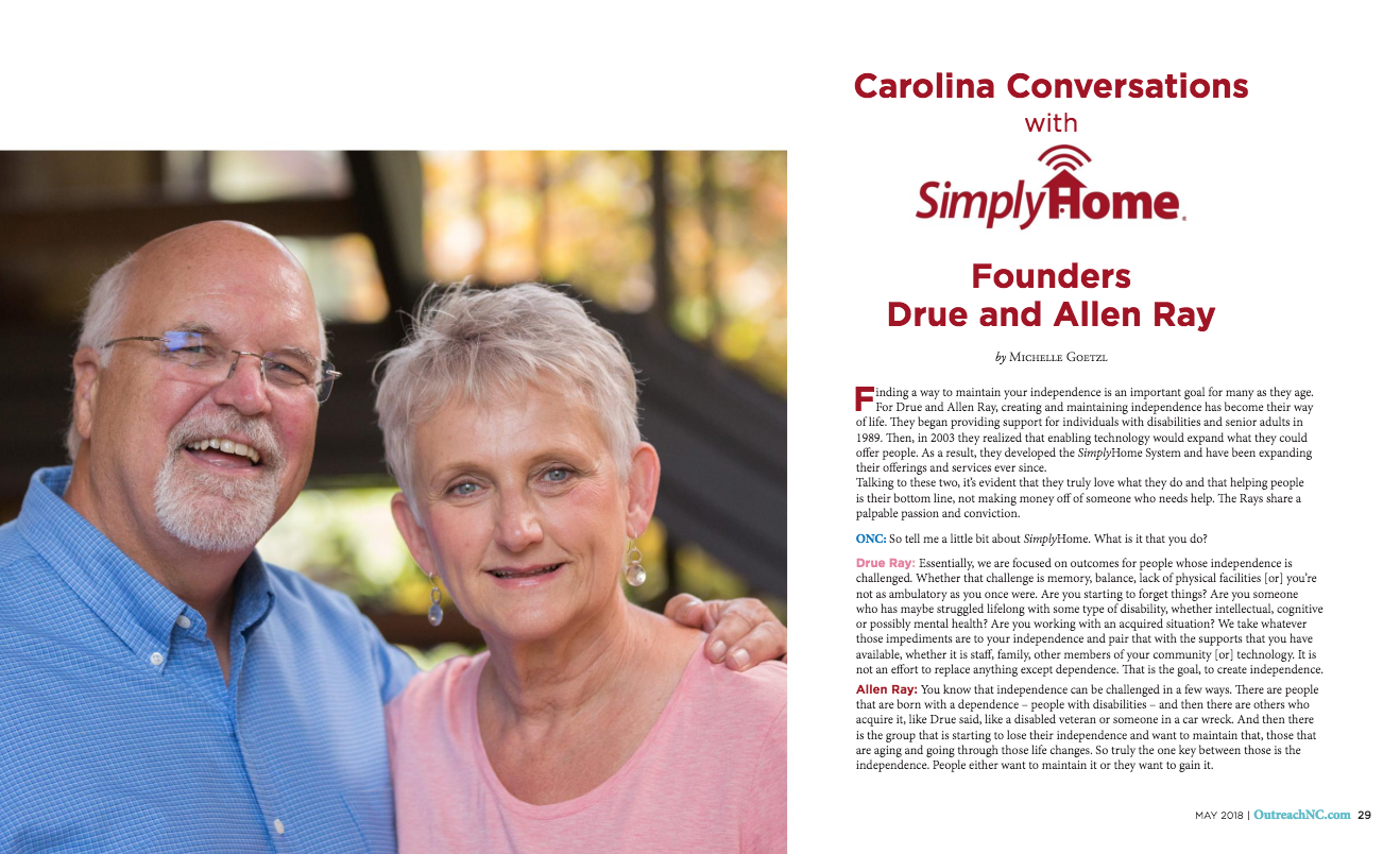The May 2018 issue of  Outreach NC  features  Simply Home's founders, Drue & Allen Ray.