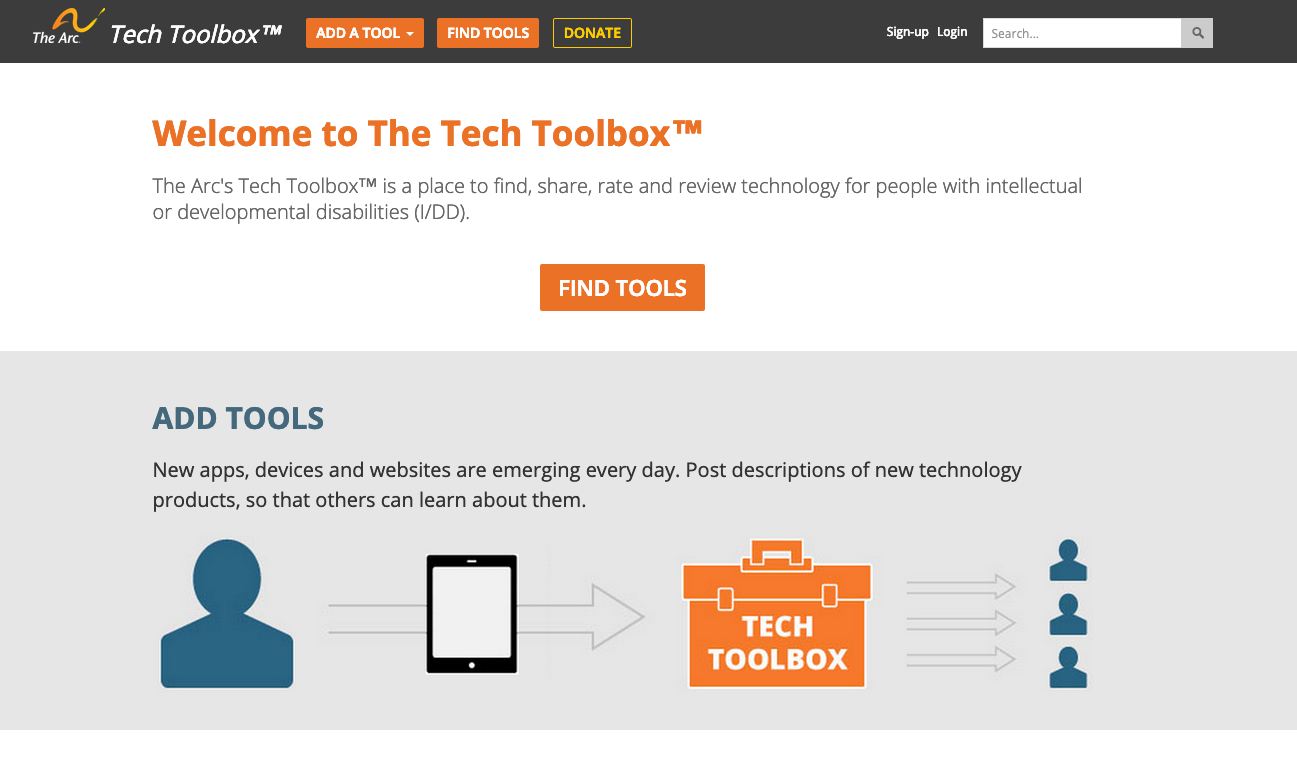 Image displaying the homepage of Tech Toolbox, a site hosted by the Arc of the United States.