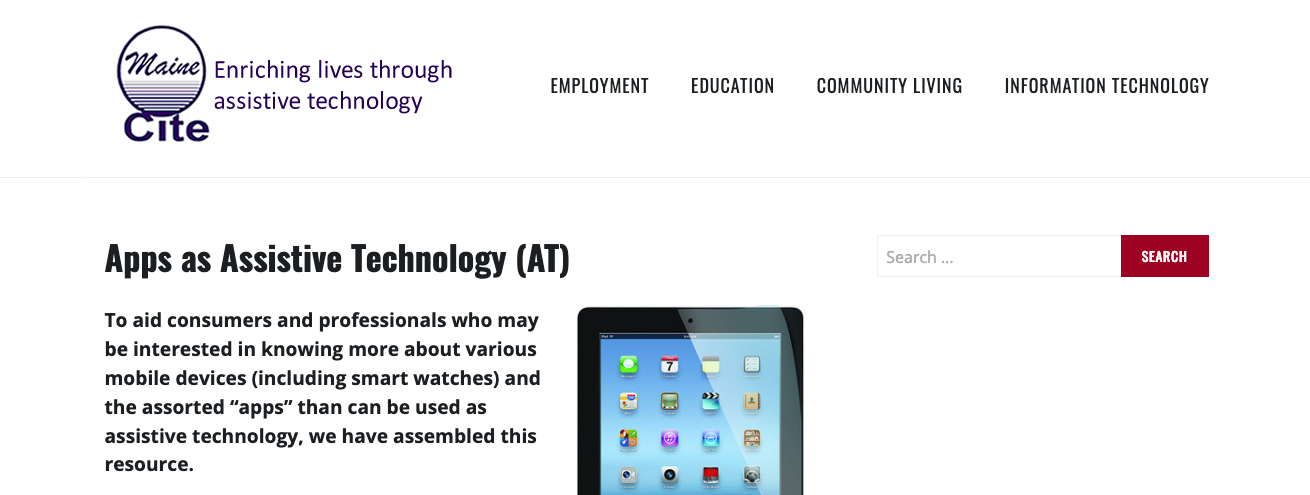 "Maine Cite's App page, which is titled ""Apps as Assistive Technology."""