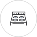 An icon showing an oven with a stovetop.
