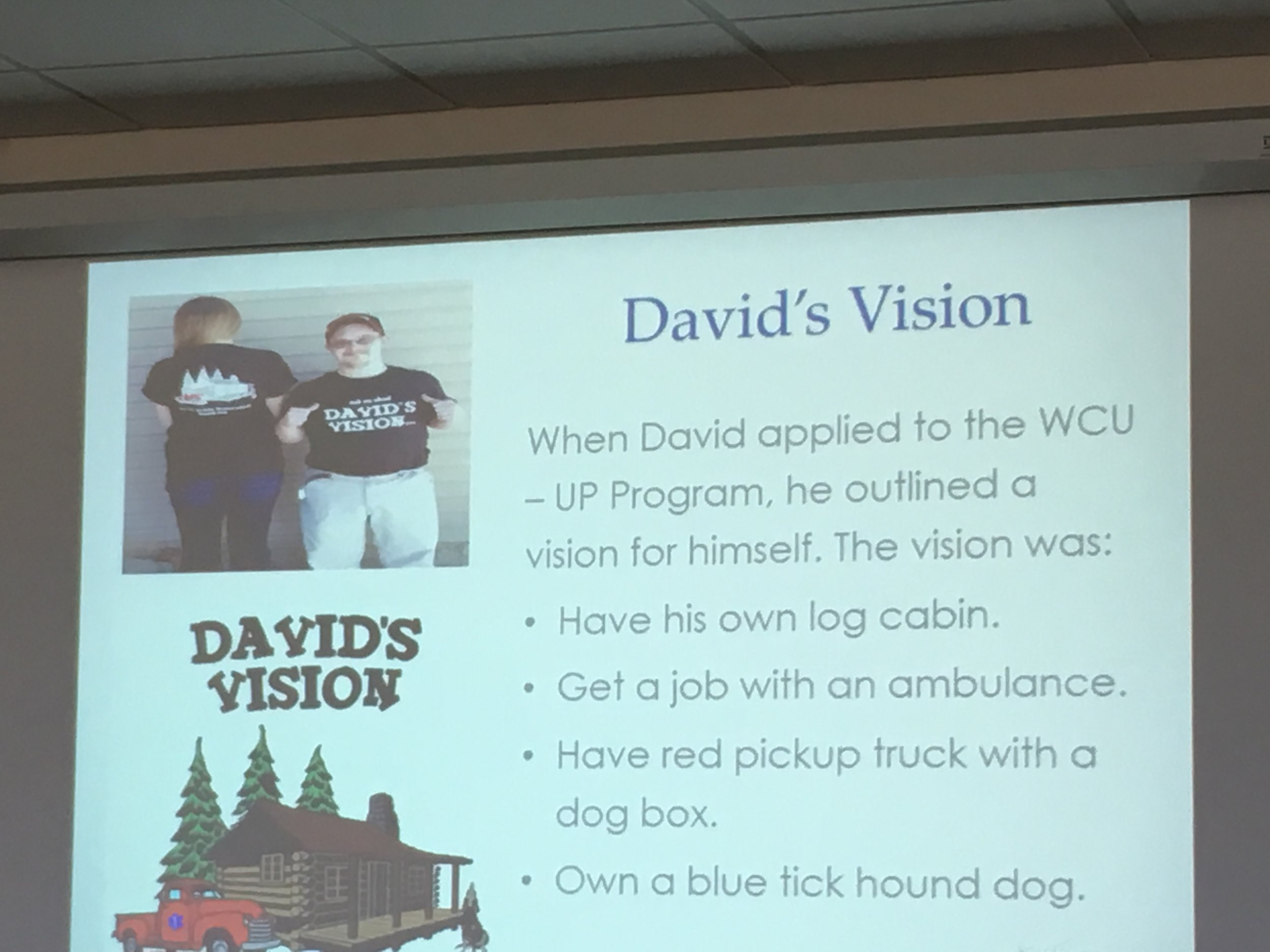 As part of his application to WCU's UP program, David created a vision for his life.