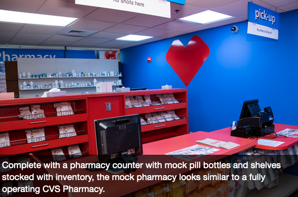 CVS's Baltimore training center.   Read more  about the mock stores and employees' success.