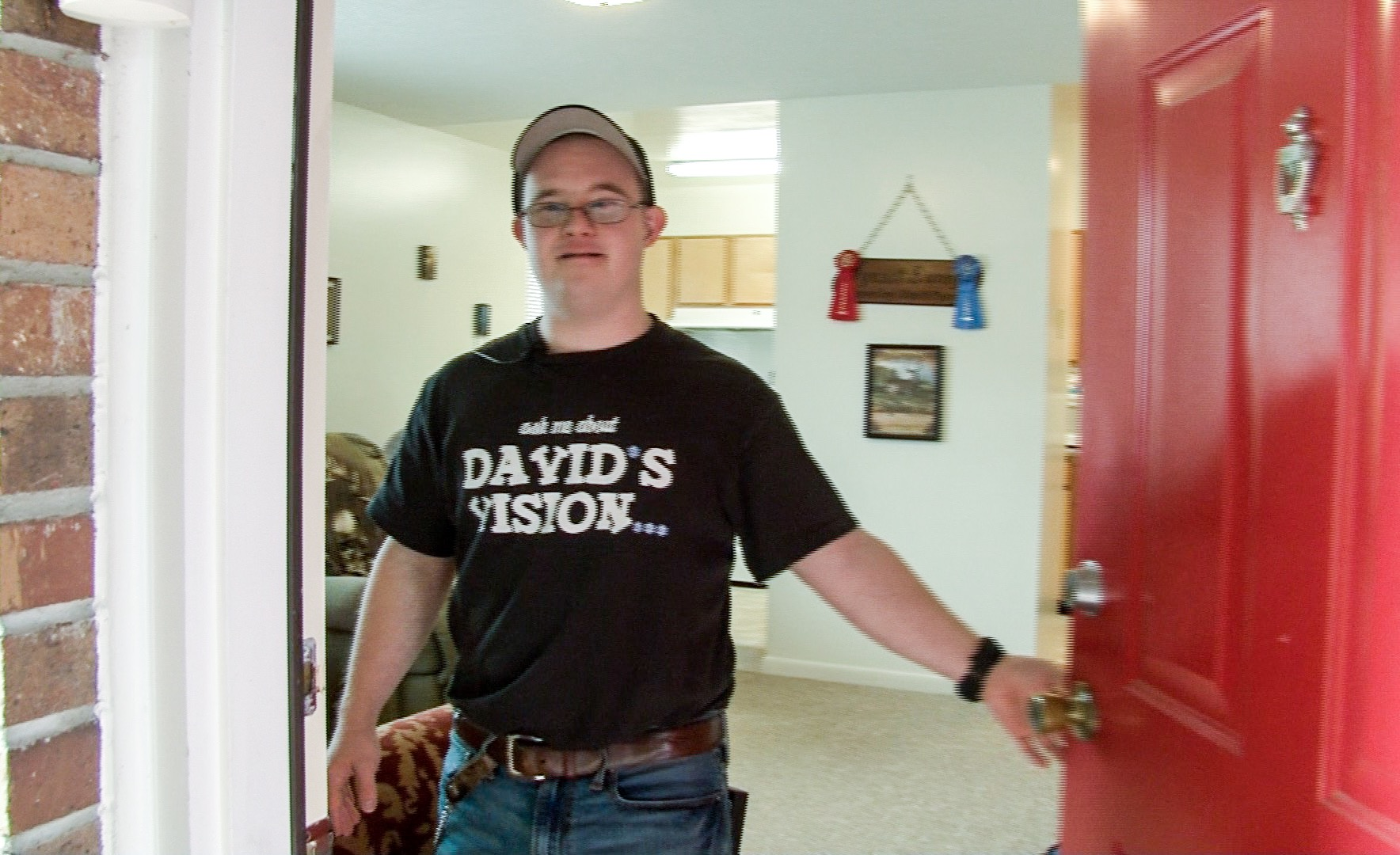 After graduation from an inclusive college program, David moved into a place of his own. His apartment features enabling technology to help him manage his daily life.