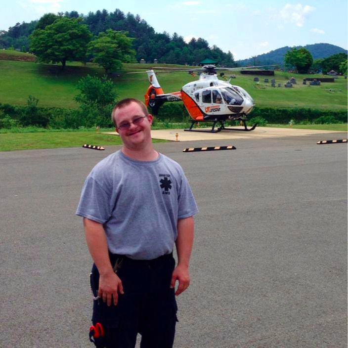 David networked and found a job at the local EMS station after completing internships related to emergency medical care and athletic injuries. Photo courtesy of Becky Garland.