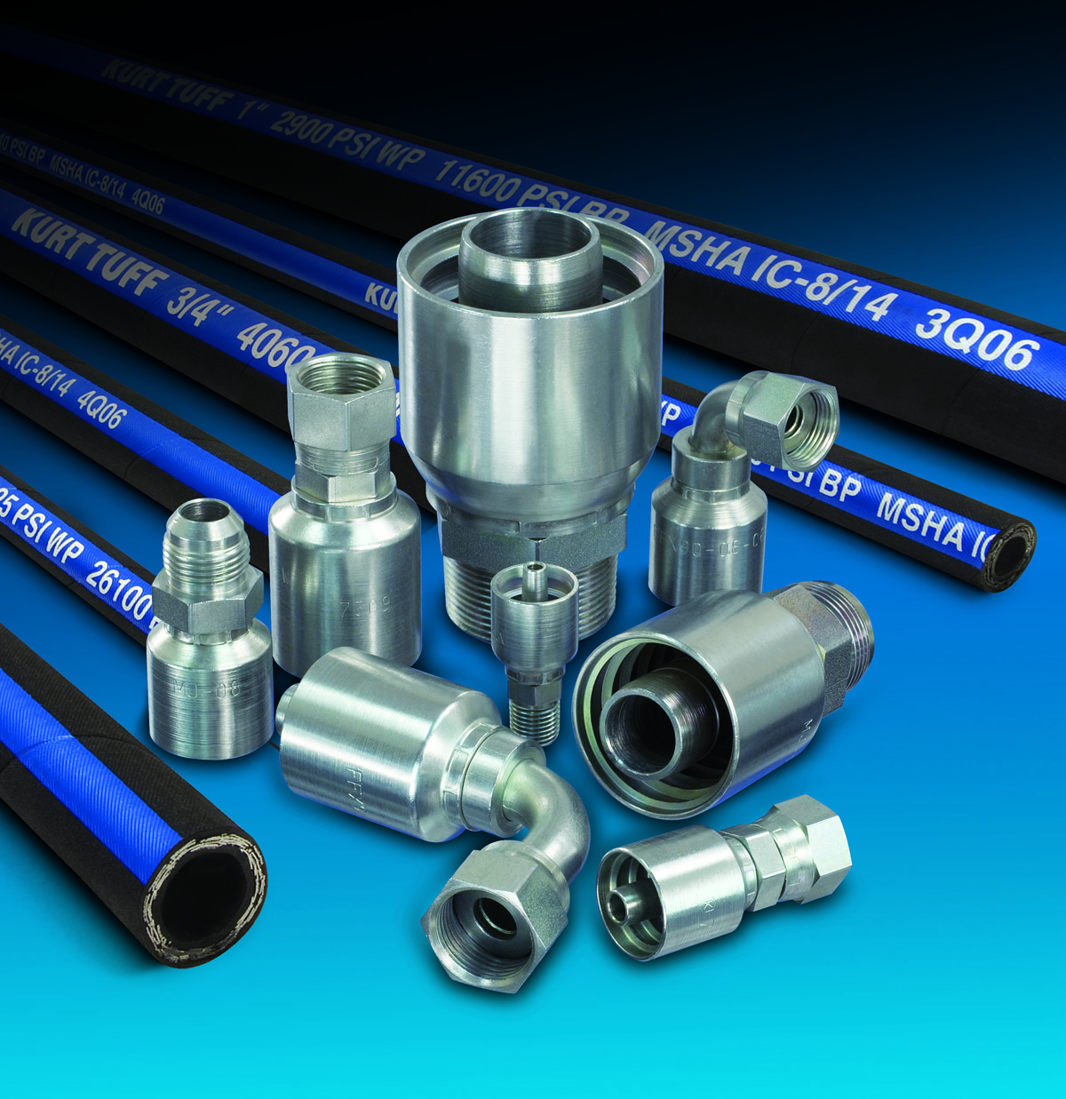 We only use the best at BP&E - Kurt Hydraulic manufactures and sells only the highest quality high pressure hydraulic hose, high pressure hose fittings, and other hydraulic system components. Our hydraulic hose products meet SAE standards and are designed for use in any hydraulic application.