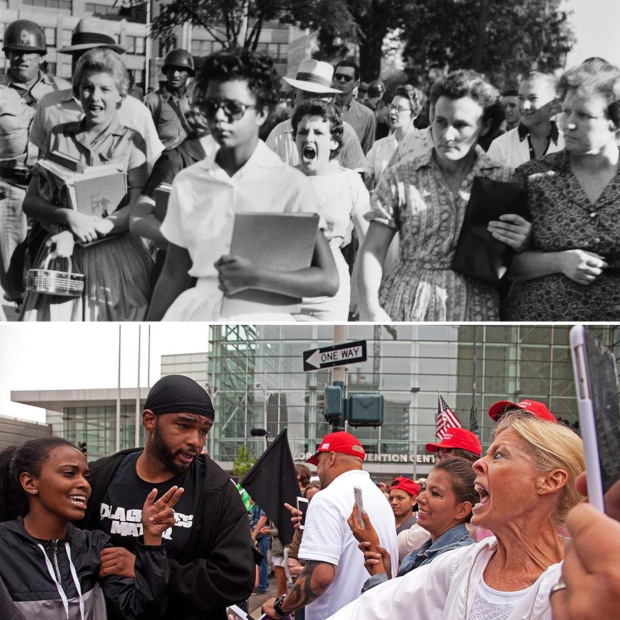 TOP: Hazel Bryan and Elizabeth Eckford walking away from Little Rock Central High School when schools were desegregated in the south (Sept 1957).  BOTTOM: Protesters and supporters at a Trump rally outside the Denver Convention Center (July 2016).
