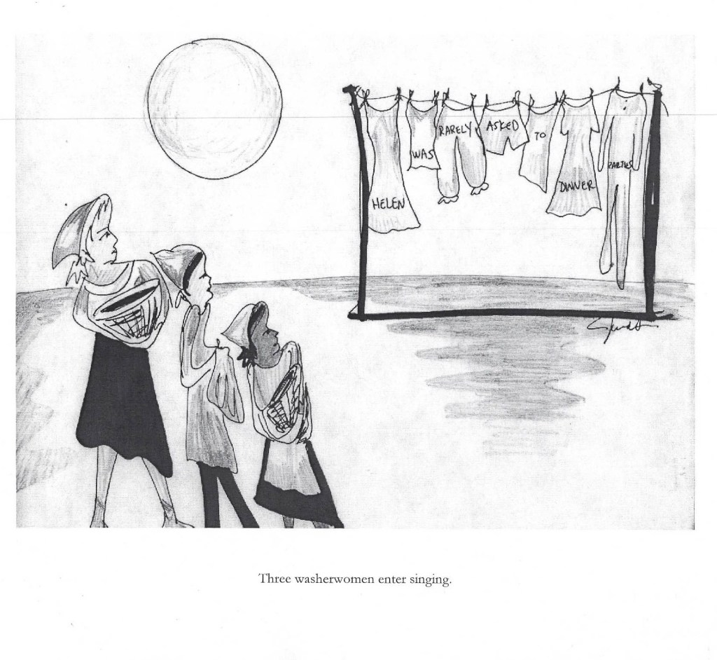 "Illustration of the opening scene of ""The Rotogravure."" Three women stand in front of a clothesline with various articles of clothing pinned to it. Written on the clothing are the words, ""Helen was rarely asked to dinner parties."" Illustration by Janet Arvia. Image courtesy of Roell Schmidt."