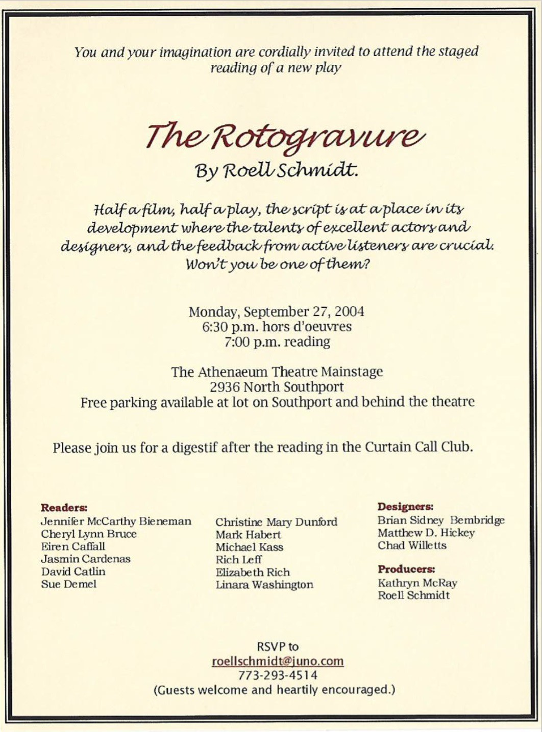 "Invitation to a staged reading of Roell Schmidt's cineplay ""The Rotogravure."" Image courtesy of Roell Schmidt."