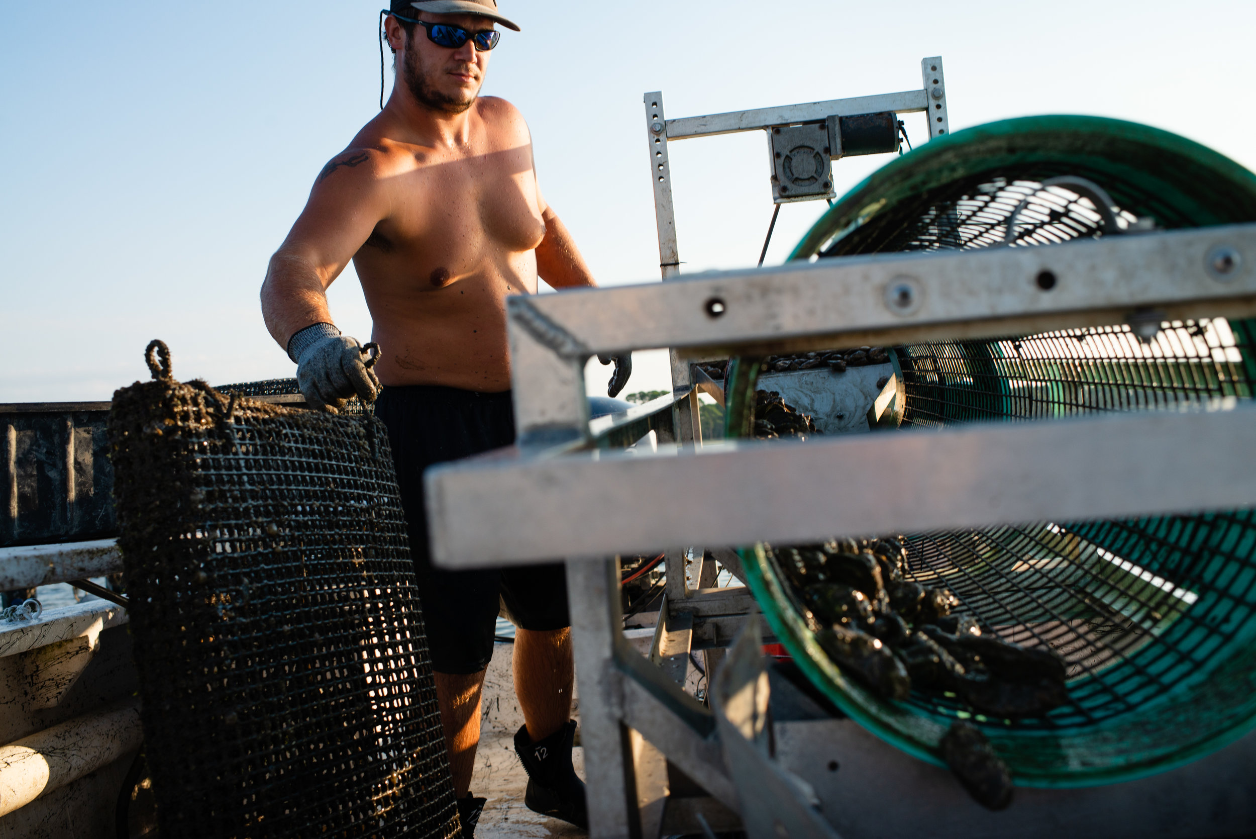 "Dylan Hill, 22, operates a tumbler which cleans the oysters on the leases operated by Oyster Boss. The tumbling of oysters is done to both wild and farmed oysters, however the oysters farmed by Oyster Boss are tumbled several times throughout their lifecycle to create ""prettier"" oysters. With the decline of wild harvest oysters in the Apalachicola Bay oyster farming in on the rise, however land is limited and start up costs are high. Even for small farms, it can cost well over $10,000 and will be at least one year before your first harvest and, therefor, payday."