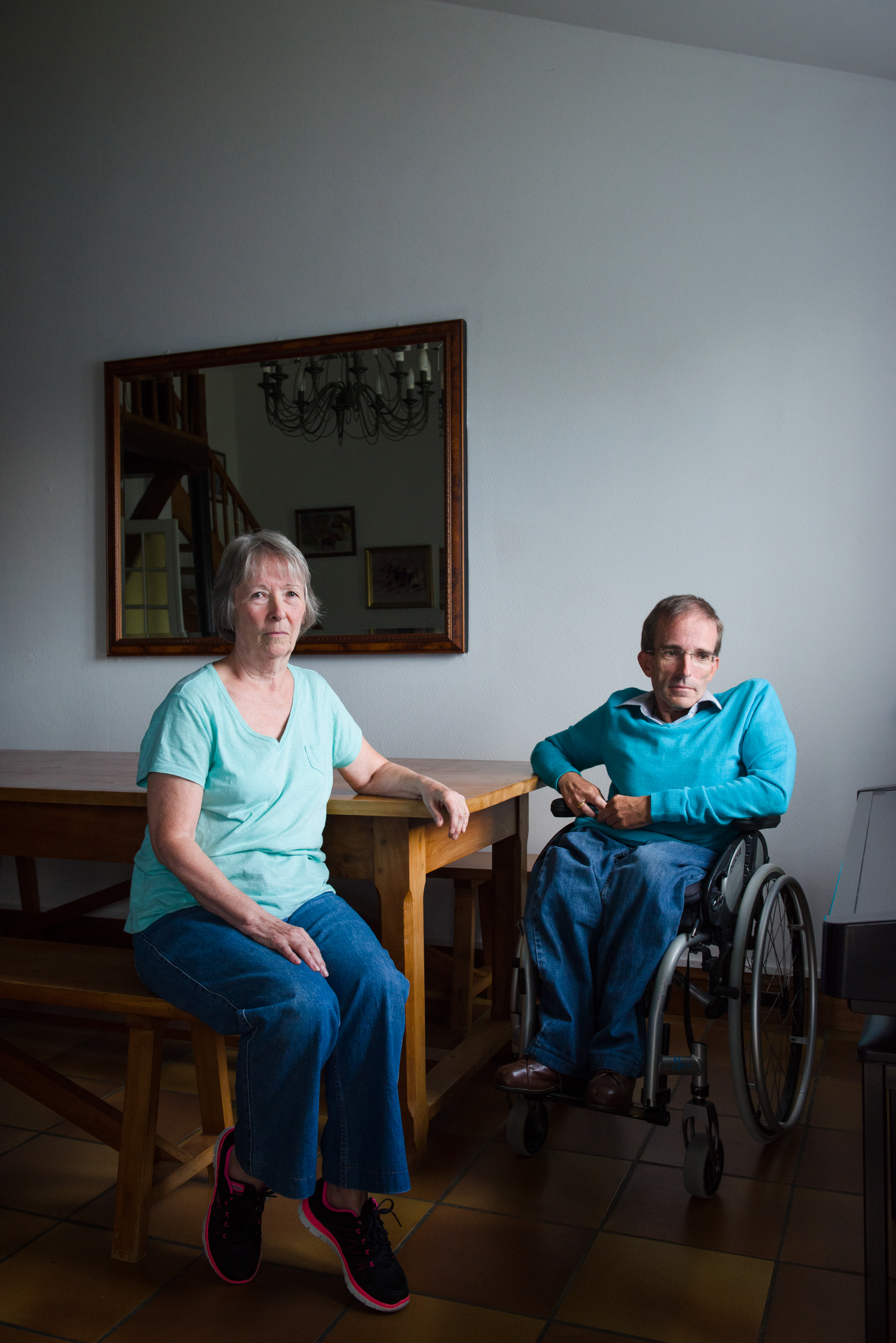 """Ian Firth, 52, with his mother and caregiver Sheila Firth, 74, in their home in Mauprévoir, France. Ian condition is chronic so his medical care is covered under the French health care system, however with the United Kingdom leaving of the EU the agreements guaranteeing medical care could change or disappear. """"We are concerned about what they are going to do, particularly about the health care. If we lose the health care then we'll have no alternative than to go back to England and that's the last thing we want to do."""""""