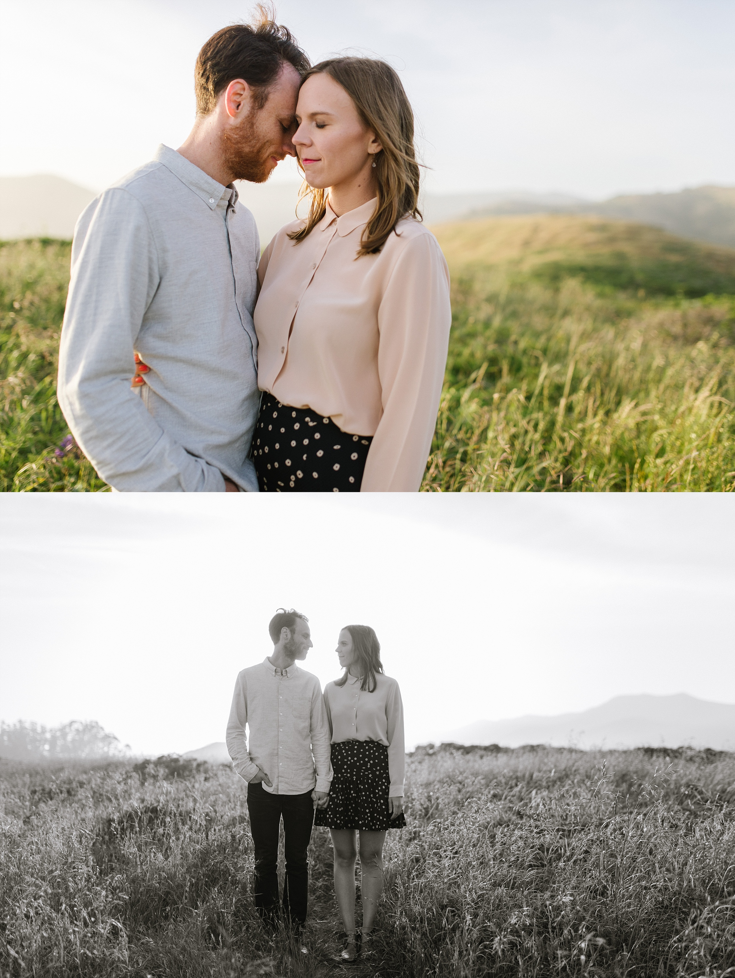 golden hour engagement couple
